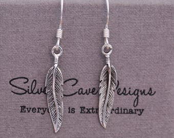 Sterling Silver Guardian Angel Feather Dangle Earrings, Blackened and Symmetric, Fantasy, Comes with Gift Box, Everyday Accessories