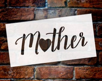 Mother - Heart - Word Art Stencil - Select Size - STCL1949 - by StudioR12
