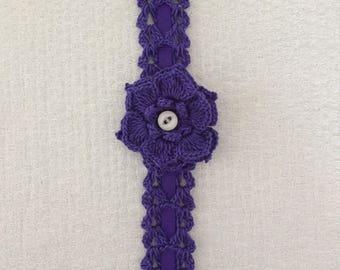Headband, baby crochet headband, headband with ribbon