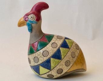 Signed Fat Guinea Fowl South African Raku Pottery