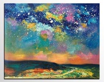 Landscape Art, Oil Painting, Canvas Art, Starry Night Sky Painting, Canvas Art, Large Art, Custom Art, Contemporary Art, Modern Wall Art
