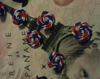 buy 1 set = 1 free! 6 Paris blue white red flowers