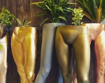 Upcycled male mannequin legs planter Gold leaf, Bronze, Copper leaf, or Silver leaf