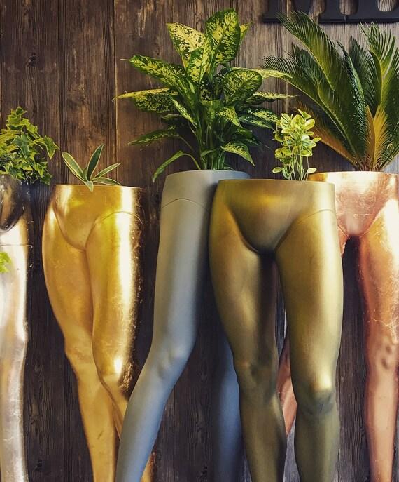 Male mannequin leg planter