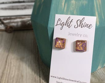 Hand Sculpted and Painted Polymer Clay Purple and Gold Stud Earrings