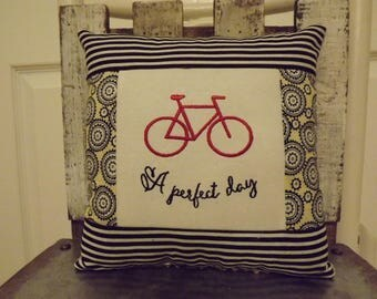 """A Perfect Day Small Bike Pillow  Approximately  8"""" X 8""""   Machine Embroidered - FREE SHIPPING!"""