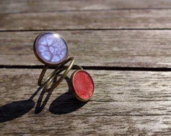 Double-effect enamel ring * purple and carmine red *.