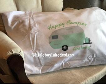Camping Pillowcase - Camping Pillow - Retro Camper Pillowcase - Retro Camper Pillow - Vintage Camper Pillowcase - Vintage Camper Pillow