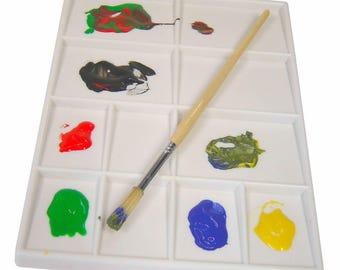 Plastic 11 Well Pint Palette Washable White Colour Mixing Palette