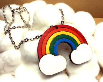 Rainbow wood necklace, for small gifts