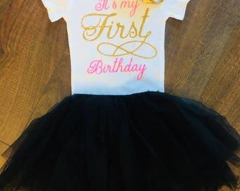 Girl's Its My First Birthday | Custom | Glitter | Girls First Birthday