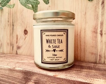 White Tea Sage Scented Soy Candle, White Tea Scented Candle, Scented Soy Candles, Soy Candles, Hand Poured Scented Candles