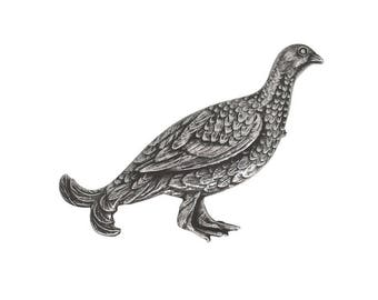 Silver Grouse Brooch