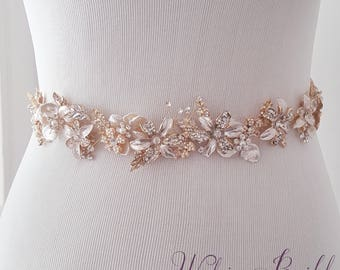 Wedding Belt, Bridal Belt, Sash Belt, Crystal Rhinestone, Gold Bridal Belt, Bridal Accessories - Style 792