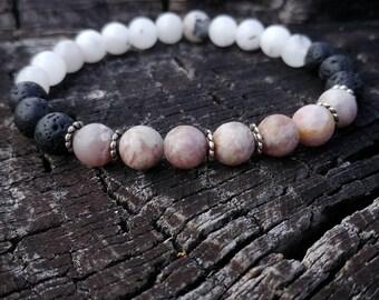 Lava Rock / Quartz / Lilac Stone  Wrist Mala // Gemstone Yoga Bracelet // Men's Yoga Bracelet // Unisex Wrist Mala Bracelet