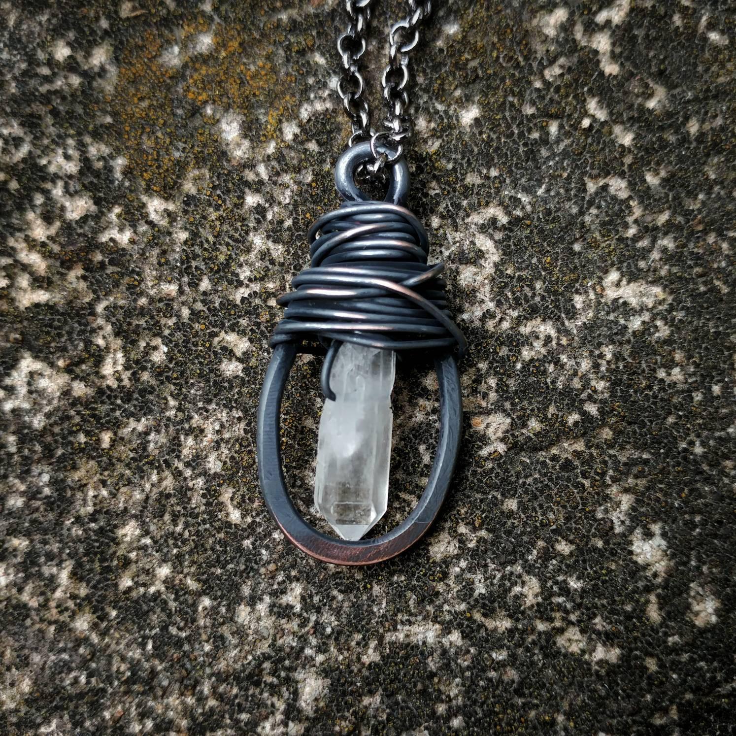 Quartz & Hammered Copper Pendant Necklace // Messy Wire Wrap Quartz ...