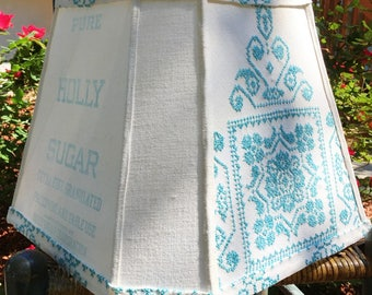 VINTAGE NEEDLEPOINT and Sugar Sack LAMPSHADE Lamp Shade in Blue and White from an Old Embroidered Tablecloth and Holly Sugar Sack Upcycled
