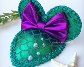 Ariel The Little Mermaid Inspired Teardrop Mouse Ears Fascinator Hat