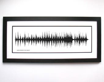 Sound Wave Print - Now Comes The Night, Voice Art, Song Print, Gift for Her, For Him, Gift for Music Lover, Musicians, Soundwave Print