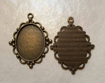 supports 19 oval 40 * 30mm bronze pendant