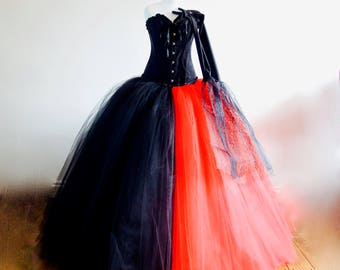Halloween Vampire Bride Costume Red/Black includes Free Gloves Various Sizes
