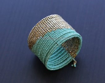 Beaded bracelet, Beaded Bangle bracelet, Wide bangle cuff bracelet, bracelet for women, Wide Bracelet