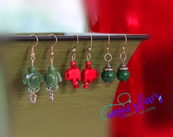 Dangle Earrings, Turtle, Elephant, Bead