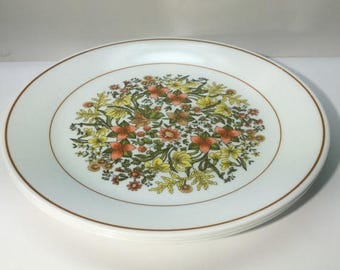 ON SALE Corelle, INDIAN Summer, Set of 3, Dinner Plates, Wite Background, Rust n Yellow Flowers, Excellent Condition