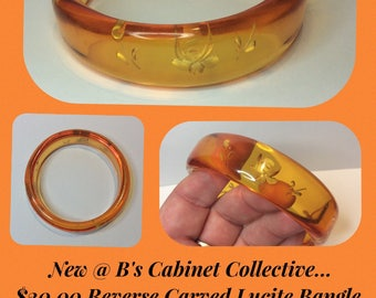 Amber colour REVERSE CARVED Lucite Chunky Bangle Roses
