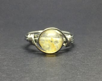 Yellow Tourmaline Wire Wrapped Ring