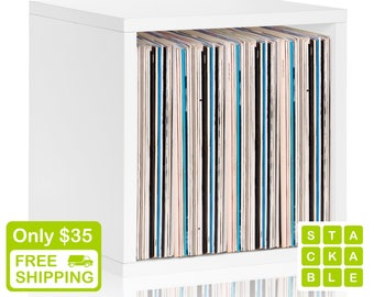 Vinyl Record Storage Cube - Stackable LP Record Album Storage Shelf White - Fits 70 records - Lifetime Warranty - FREE SHIP (bs-scube-we)