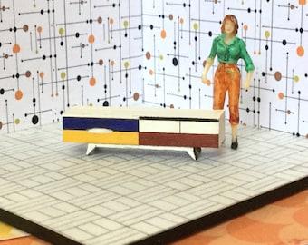Quarter Scale Miniature Credenza- 1:48, 1/4 Retro Mid Century Modern Art