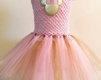 Pink & Gold Minnie Mouse Inspired Tutu Dress - Disney Princess Tutu Dress - Pink Tutu Dress - Pink Tutu Dress - Disney Tutu Dress Tulle