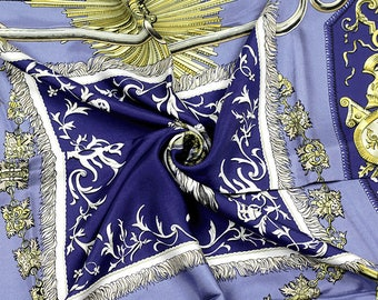 """HERMES SCARF Silk """"Ludovicus Magnus"""" by Françoise De La Perriere 90cm Carre 100% Authentic"""