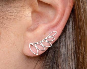 Sterling Silver Ear Climber ~ Leaf Ear Climber ~ Summer Jewelry ~ Minimalist Jewelry - One Pair