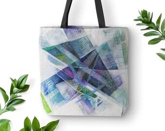 Blue Tote, Abstract Art Bag, Original Tote Bag, White Tote Bag, Black Strap Tote Bag, Tote Handbags, Canvas Bag