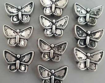 Double Sided Silver Tone Butterfly Beads, 12x8.5x4.5mm - 10 Pcs
