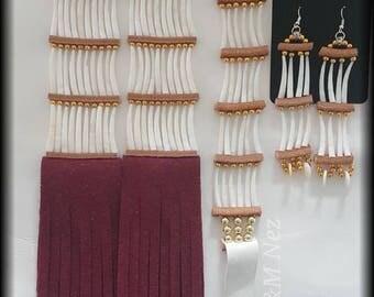 Burgundy/Maroon Dentalium Shell Set