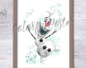 Frozen Wall Art olaf print olaf watercolor nursery printable art frozen poster
