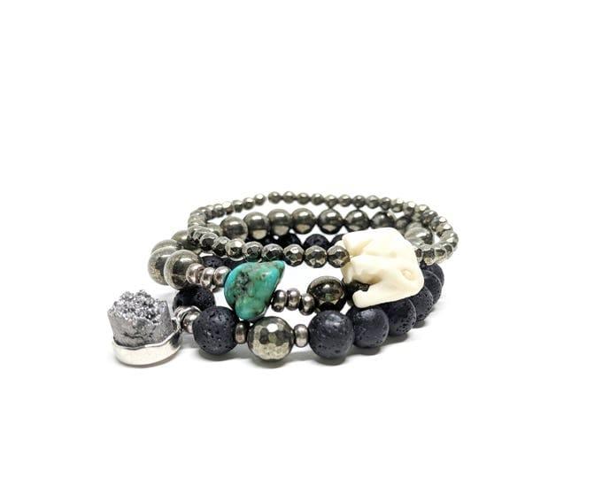 Lava Rock Bracelet Set, Black and Gunmetal Bracelets, Silver and Black Bracelets, Black Bracelet Set, Black Stacking Bracelet Elephant Charm