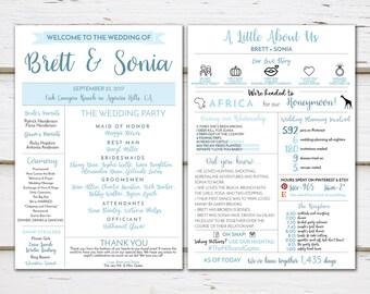 Printable Fun Infographic Wedding Program, Unique Wedding Program, Fun Program, Modern Program, Entertaining, Fun Facts, Hashtag, MB252
