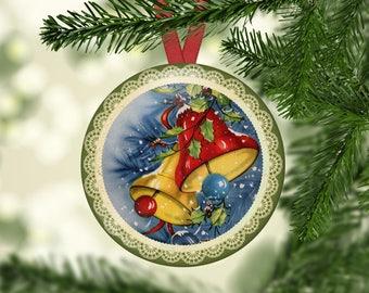 Christmas Ornament Hangers, Santa's, Bells, Candles, Vintage Children, Vintage Santa Set 1 - (0081)