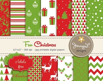 50% OFF Christmas Digital Paper, Red and Green Christmas Papers, Holiday Digital Scrapbooking Paper, Poinsettia Digital Paper, Christmas Tre