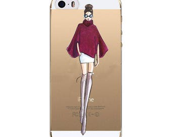 Fashion Illustration Cell Phone Case For Iphone 7, Clear Transparent Silicone, Women's fashion Illustration Art Cell Phone Case