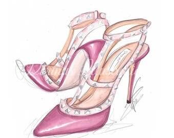 Pink shoe art, Fashion illustration, Shoe art, Pink shoe print, Girly print, Fashion print, Fashion art print, Pink wall art, Cute print