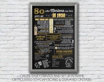Personalized 80th Birthday Poster, 1938 Chalkboard Poster, 1938 Events, Milestone Birthday, Anniversary  - High Resolution Digital File