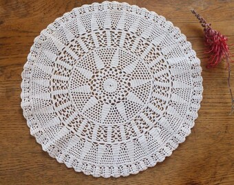 Vintage Ecru Handmade Crochet Doily ~ Cottage Decor Repurpose Doilies