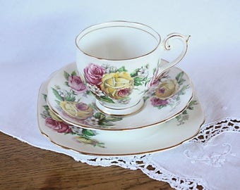 Queen Anne 'Manor Roses' Fine Bone China Trio ~ Teacup Saucer Plate ~ High Tea Mismatched China Teacups