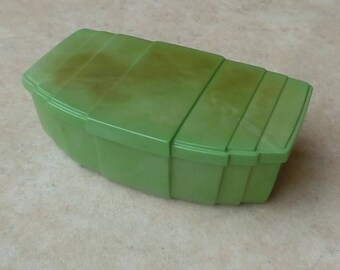 Vintage Green Lucite Dressing Table Box by Halex