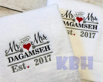 Mr and Mrs Towels - set of 2
